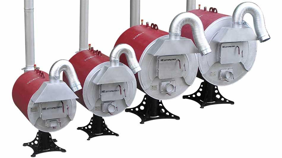 """Твердопаливні піролізні водогрійні котли. 25-95 кВт. ТМ """"Макарівські котли"""" Україна. Вид спереду-зліва"""